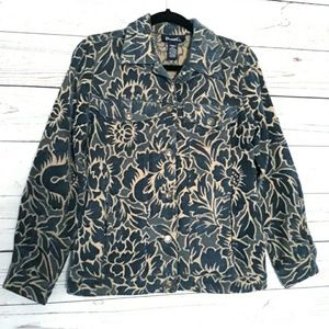 Denim & Co Blue/Tan Tapestry Button Up Jacket